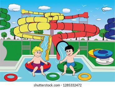 Two kids at the aquapark are having fun