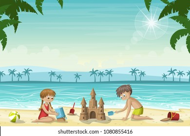 Two kids build a sandcastle on the beach