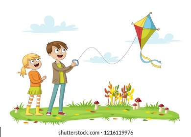 Two kids fly a kite, isolated on white background