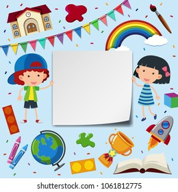 Two kids and frame template with school items illustration