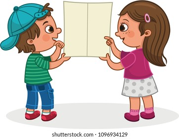 Two kids looking a empty leaflet for general use. Vector illustration.