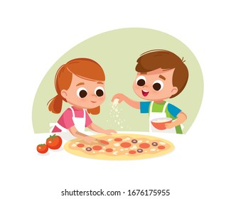 Two kids making pizza. Boy and girl cooking. Two kids making pizza. Boy and girl cooking. Boy salting pizza.