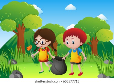 Two kids picking garbage in the park illustration