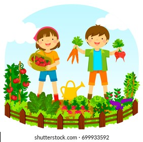 two kids picking vegetables in a garden