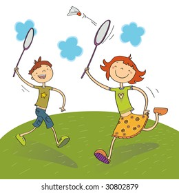 two kids playing badminton, vector illustration