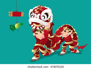 Two kids playing Chinese Lion dancing
