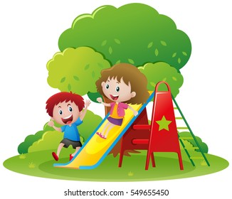 Two kids playing slide in the park illustration