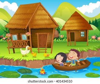 Two kids rowing boat in the river illustration