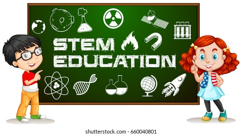 Two kids with stem education on board illustration