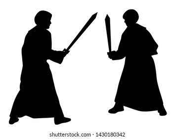 Two kids sword fighting duel in medieval style costumes