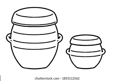 Two kind(Jar and pot) of Onggi. Onggi is Korean earthenware, which is extensively used as tableware, as well as storage containers in Korea. Vector line art illustrations set.