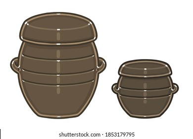 Two kind(Jar and pot) of Onggi. Onggi is Korean earthenware, which is extensively used as tableware, as well as storage containers in Korea. Vector illustrations set.