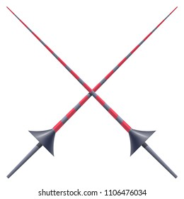 Two knightly spears on a white background. Vector illustration of a heraldic sign - crossed spears for a tournament. Cartoon illustration