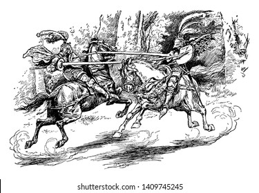 Two knights jousting with lances, vintage line drawing or engraving illustration