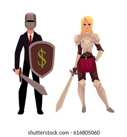 Two knights - modern businessman warrior and medieval armored woman - holding swords, cartoon vector illustration isolated on white background. Modern business knight, beautiful medieval woman knight