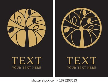Two label variations of stylish tree design