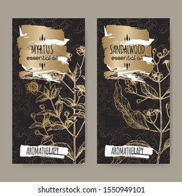 Two labels with Common myrtle aka Myrtus communis and Indian sandalwood aka Santalum album sketch on black lace background. Great for traditional medicine, perfume design, cooking or gardening.