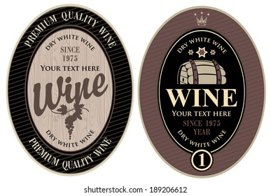 two labels for wine cask
