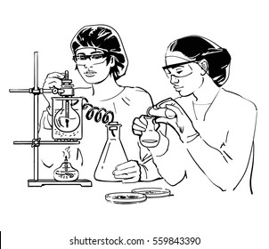 Two laboratory assistants working in scientific medical or chemical lab. Sketch of female scientist  with test tubes. Hand drawn vector illustration isolated on white background.