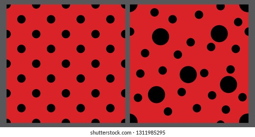 Two ladybug patterns set. Red and black backgrounds. Bright polka dot backdrops