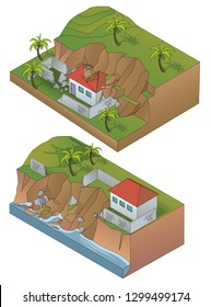 two landslides isometric - vector