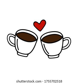 Two large mug of coffee or cocoa hand-drawn for lovers. Vector illustration in doodle style black outline with red and brown elements on a white background