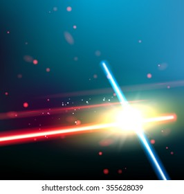 Two laser rays are crossed over dark space background. Deep space of univerce  with stars and laser glow. Vector illustration.