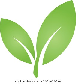 Two leaves in green, nature logo