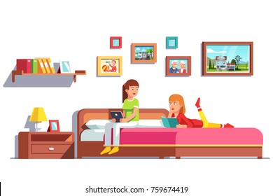 Two lesbian woman family couple relaxing and reading together sitting and lying on home big double bed. Girlfriends sharing one bedroom. Flat style vector illustration isolated on white background.