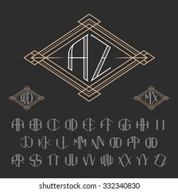 Two letters decorative monogram template. Elegant vector set of signs. Outline style symbols from A to Z.