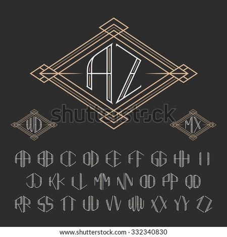 two letters decorative monogram template elegant stock vector