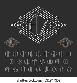 Two letters monogram template. Luxury vector set of stylish signs. symbols from A to Z.