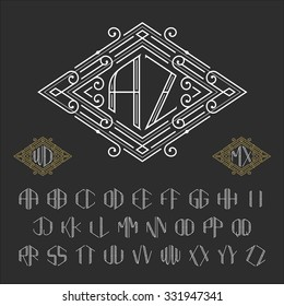 Two letters monogram template. Stylish vector set of ornate signs. Outline style symbols from A to Z.