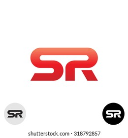 Two letters S and R ligature logo. Dynamic, sport, science modern style.
