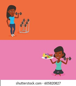 Two lifestyle banners with space for text. Vector flat design. Horizontal layout. African-american woman holding healthy fruits and dumbbell. Girl choosing healthy lifestyle. Healthy lifestyle concept