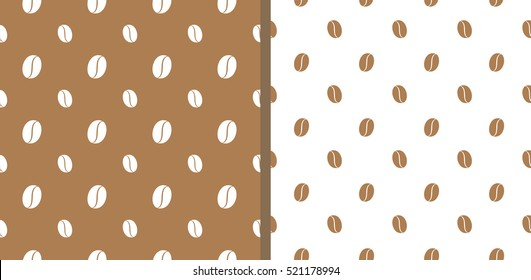 Two light brown seamless pattern with coffee beans