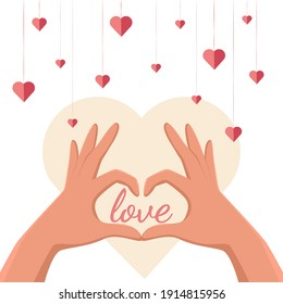 Two light skin hands in form of heart. Decoration elements of little hearts around. Romantic atmosphere. Happy Valentine's Day. Vector illustration isolated on white background.