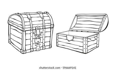 Two line chests, open and close chest. Isolated on white background. Vector illustration