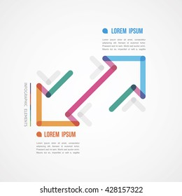 two linear diagonal arrows infographics