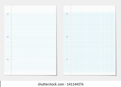 Two lined notebook sheets. Vector eps10 illustration of paper background. Raster file copy included in portfolio