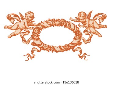 Two little angel with a wreath. In three colors on white background