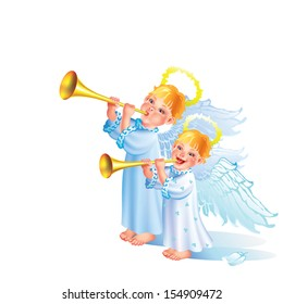 Two little angels blowing the trumpets