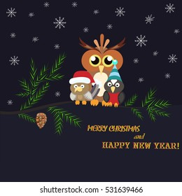 Two little birds and a large owl sitting on a branch. The branch of a Christmas tree and shot on a blue background. Happy New Year and Merry Christmas.Style flat. - Stock vector