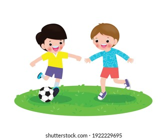 Two little Boys play football, happy Children playing soccer in the park isolated on white Vector illustration