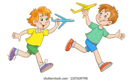 Two little boys run with toy planes in their hands.  In cartoon style. Isolated on white background.