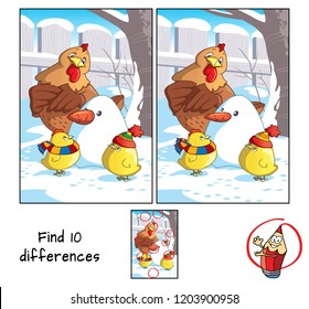 Two little chicken, hen and snowman. Find 10 differences. Educational game for children. Cartoon vector illustration