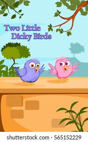 Two Little Dicky Birds, Kids English Nursery Rhymes book illustration in vector