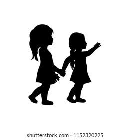 two little girls, logo icon