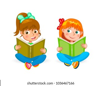 Two little happy girls read books. Girls with books in hands on a white background.