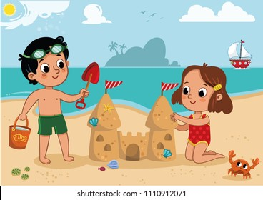 Two little kids playing on the beach. Outdoor activity. Isolated on white. Vector illustration.